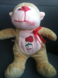 """My monkey that Justin won me at a fair. Its turned out to be one of my """"comforting"""" things. This is one of the animals Gianna brought me during my breakdown."""