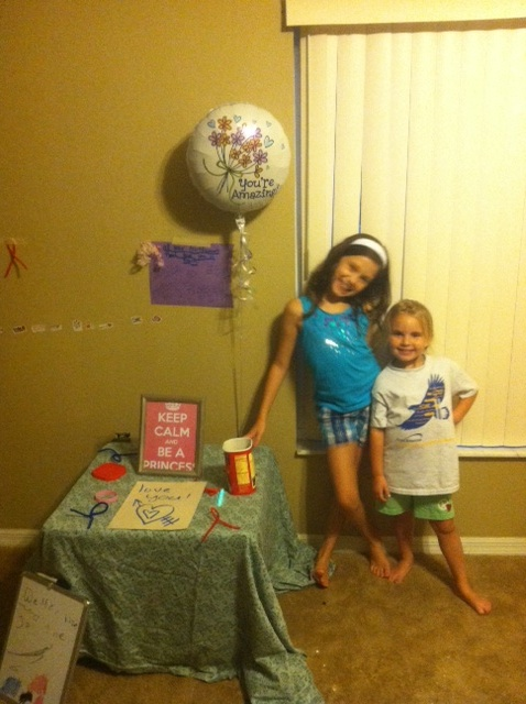 The girls decorated part of the house for my celebration. Look on the table-the ribbons and bracelet!